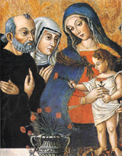 The Madonna delle Libere by Pier Paolo Agabiti (1470-1540) depicts Blessed Simon of Cascia (1285-1348) and Saint Rita of Cascia (1381-1457) with Mary and the child Jesus, Monastery of Saint Rita of Cascia, Italy.